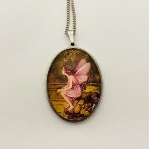 Vintage Style Fairy Glass Cabochon Stainless Steel Necklace